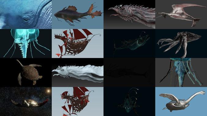 fantastical aquatic collection 3d model obj mtl 3ds fbx blend dae ztl 1