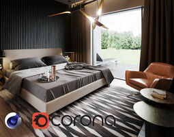 3D Bedroom Interior Scene for Cinema 4D and Corona