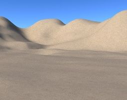 3D model Sandy desert terrain with Hills and mountains