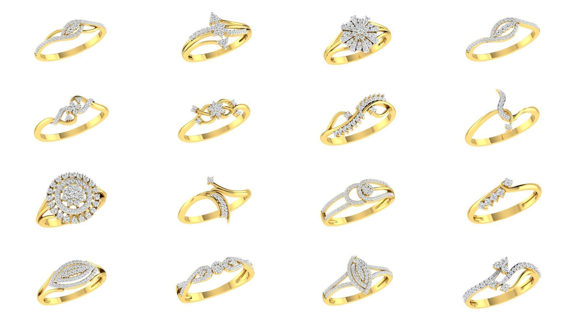 Bulk Rings-0053-3dm with stones-92 Files-Collection