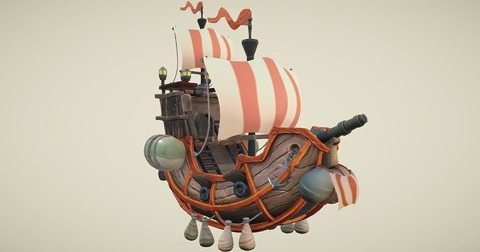 flying ship hand-painted 3d model low-poly obj mtl 3ds fbx stl dae w3d 1