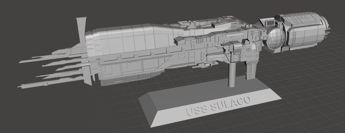uss sulaco digital files complete with 2 types of stands 3d model stl 1