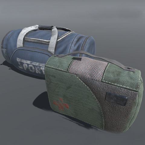 duffle bag and med kit lowpoly 3d model low-poly max fbx ma mb tga 1