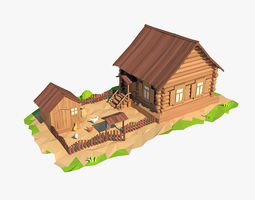 3D asset Cartoon wooden house
