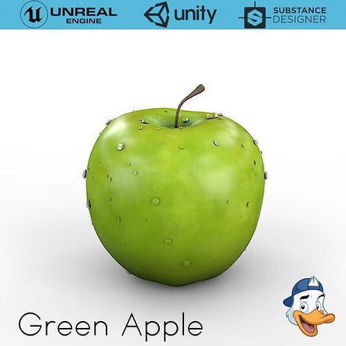 green apple 3d model obj mtl fbx c4d unitypackage prefab uasset 1