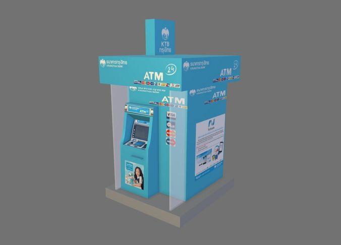 atm kiosk 3d model low-poly fbx 1