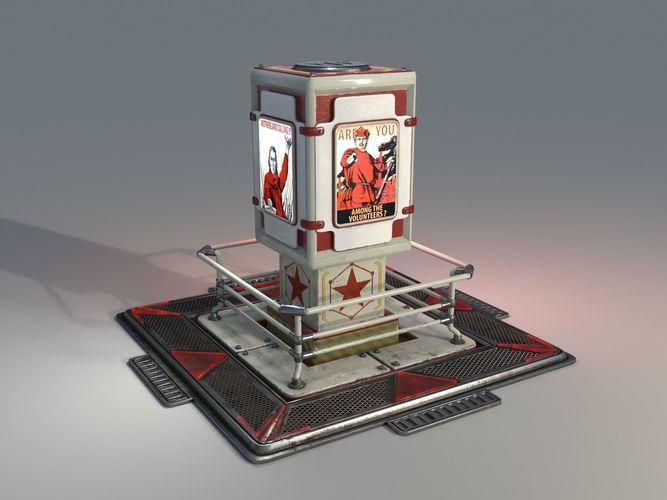 communist propagandist billboard - low poly 3d model max obj mtl fbx stl 1