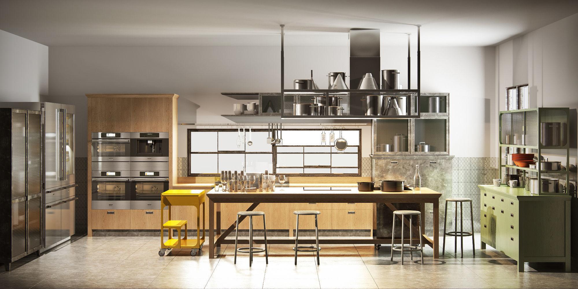 3D model Scavolini diesel social kitchen type 001