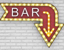 3D model Large Up Letters Light Bar Sign