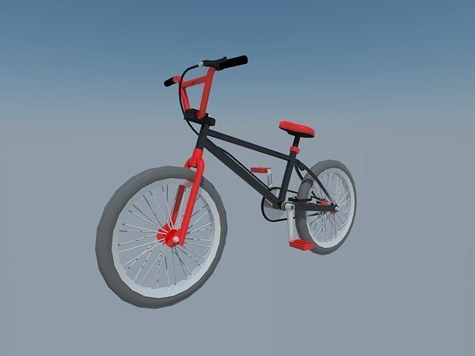 black bmx 3d model low-poly obj 3ds fbx mtl 1
