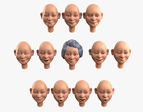 3D model Grandma Emotion Kit for Face Animation