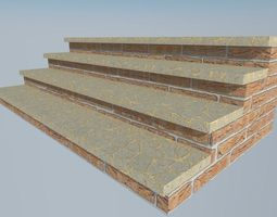 3d model realtime long brick stairs