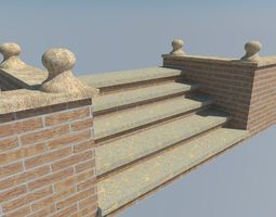 brickwall steps 3d model low-poly