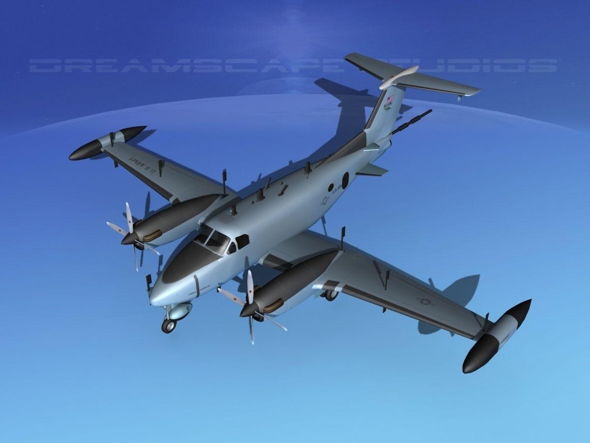 Beechcraft Rc 12n Guardrail Usaf 3 3d Model Rigged Max