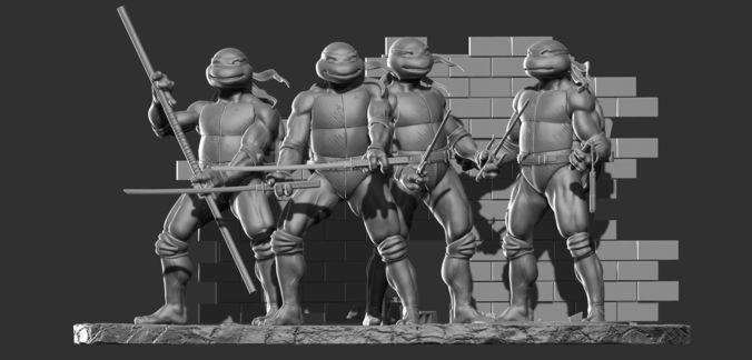 teenage mutant ninja turtles tmnt diorama 3d model stl 1