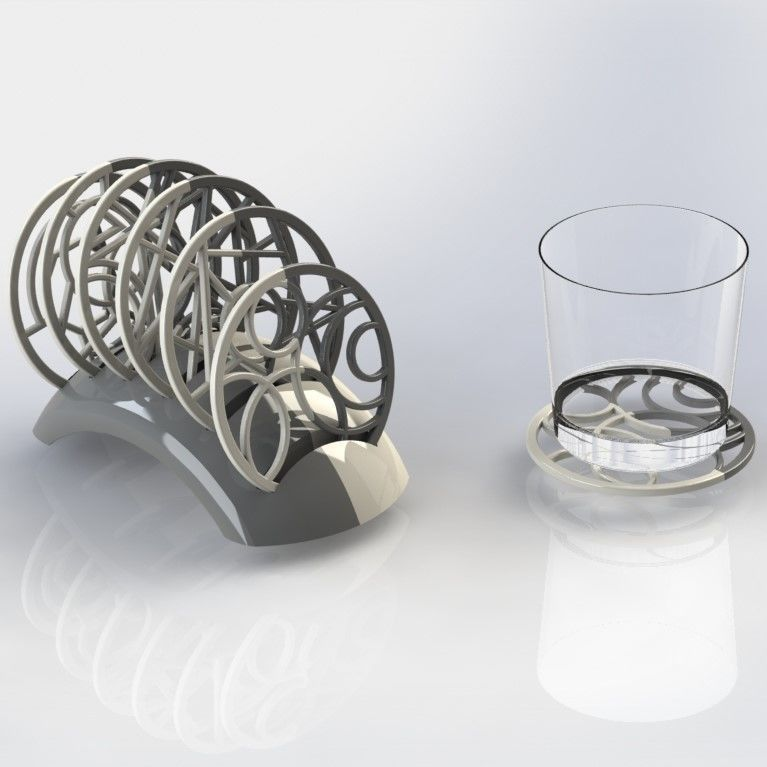 photo about Printable Coasters named GEOMETRICAL COASTERS 3D Print Design
