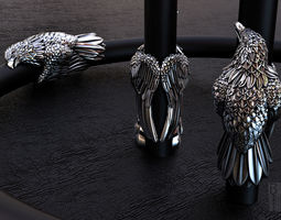 3D print model silver jewelry eagle insert on leather or