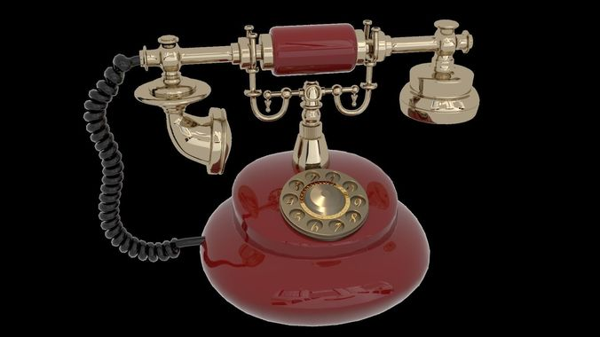 vintage telephone 3d model obj mtl fbx blend 1