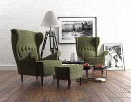 3D IKEA Strandmon armchair set