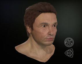 3D model VR / AR ready Male Head