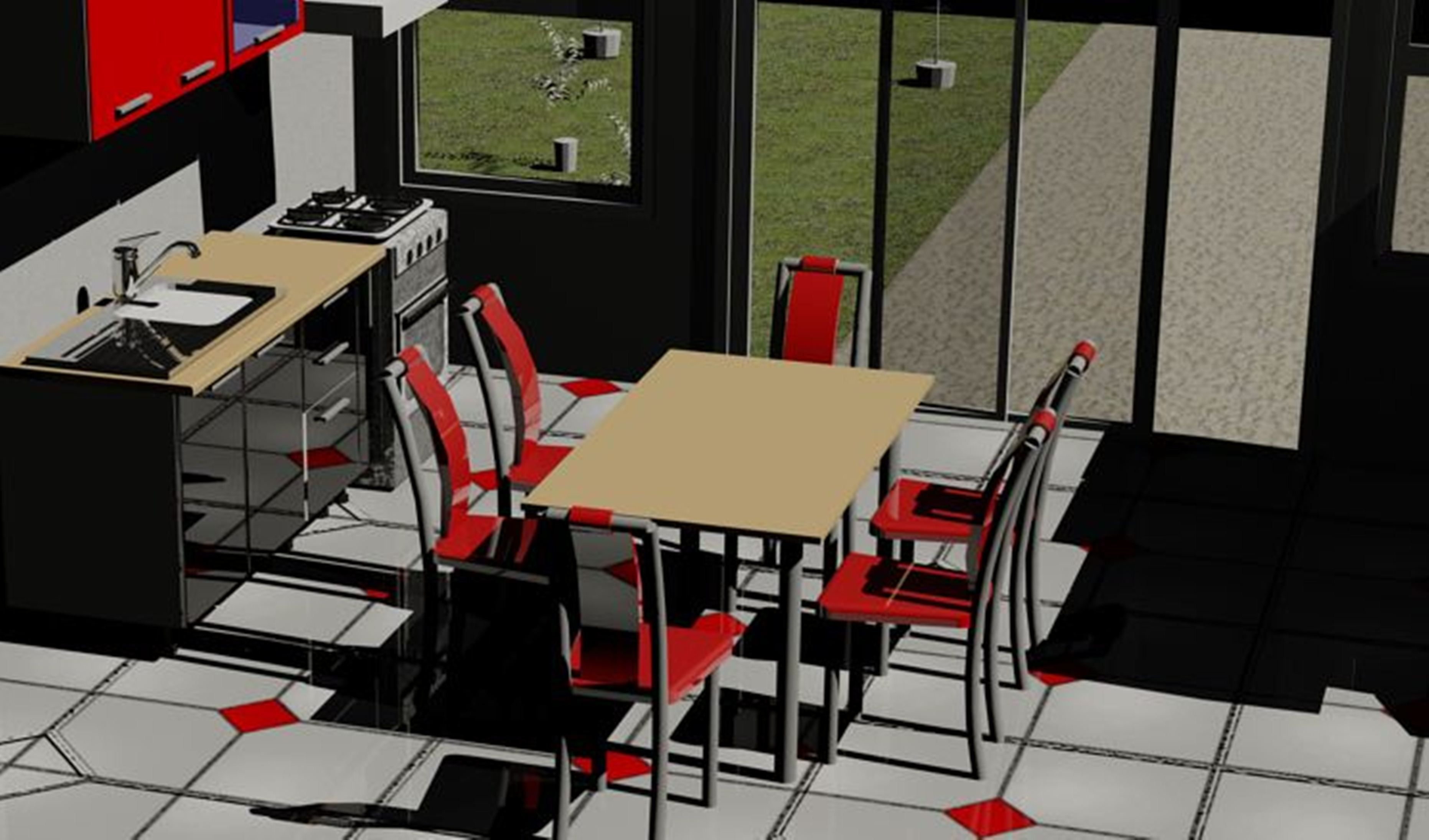 Restaurant Kitchen 3d Model red kitchen ver 1 3d model | cgtrader