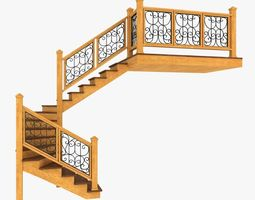 3D Wooden Interior Staircase