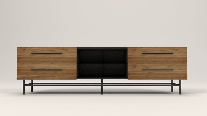 arimo tv cabinet with drawers 3d model low-poly max obj mtl 3ds fbx dxf dae 1