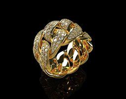 Diamond Cuban Ring 3 3D print model