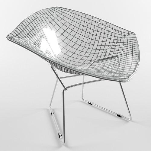 3d model diamond chair harry bertoia knoll studio vr ar low poly