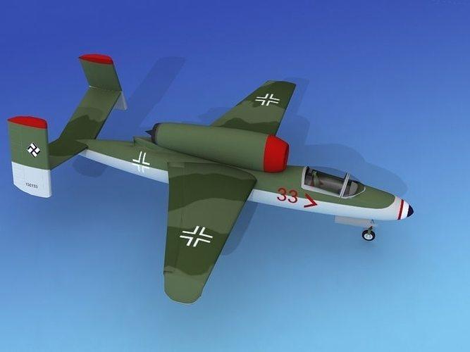 heinkel he 162 volksjaeger v03 3d model max obj 3ds lwo lw lws dxf 3dm 1
