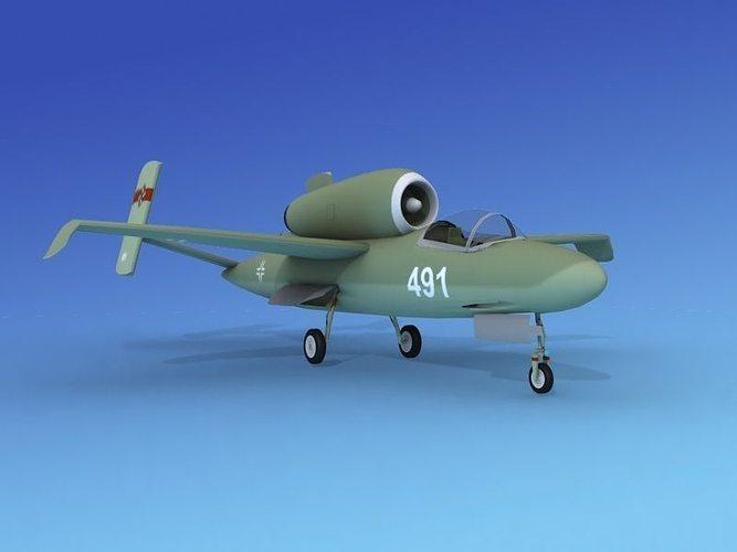 heinkel he 162 volksjaeger v08 3d model max obj mtl 3ds lwo lw lws dxf 3dm 1