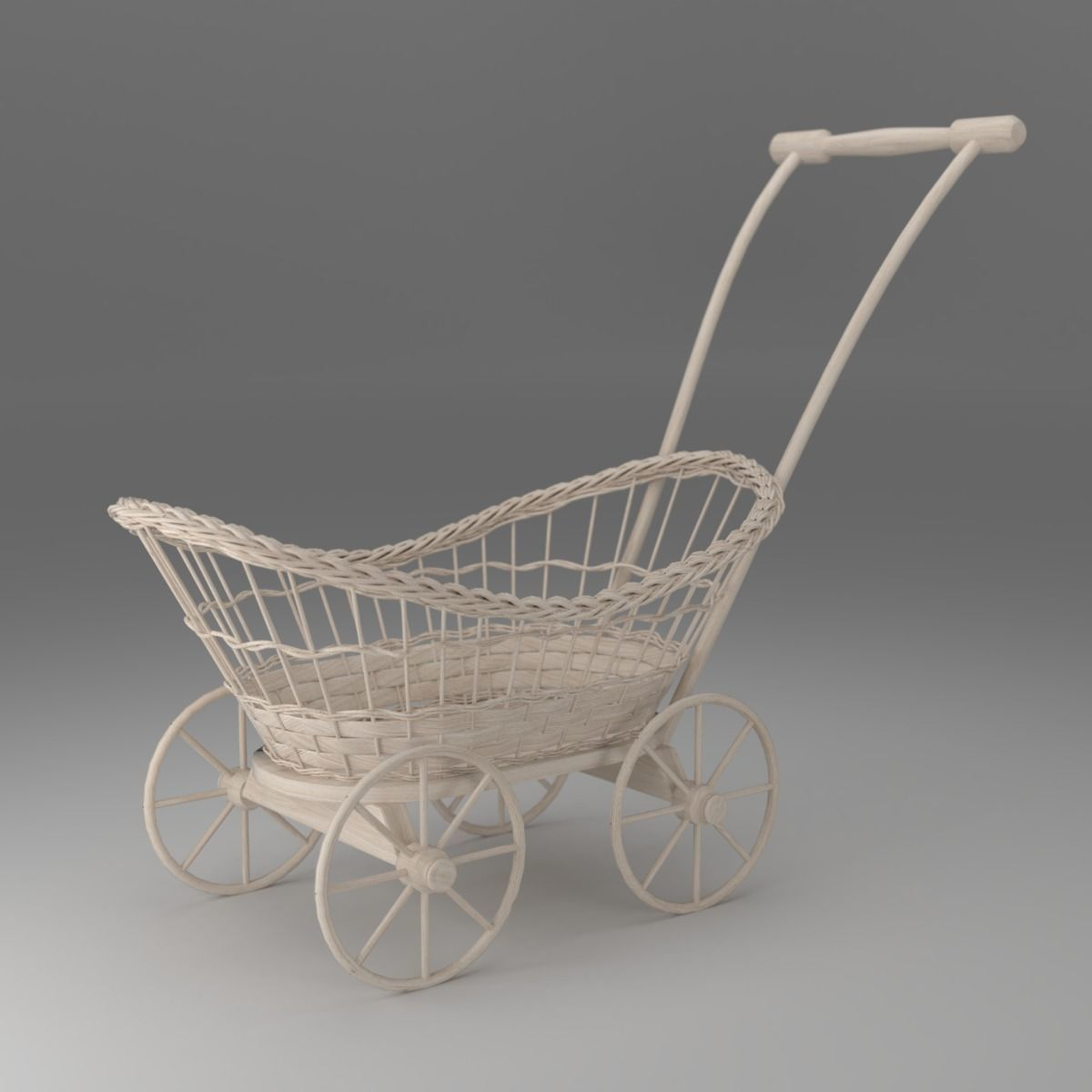 Wicker Cart Basket On Wheels Cgtrader