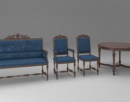 3D model Carved furniture set 01
