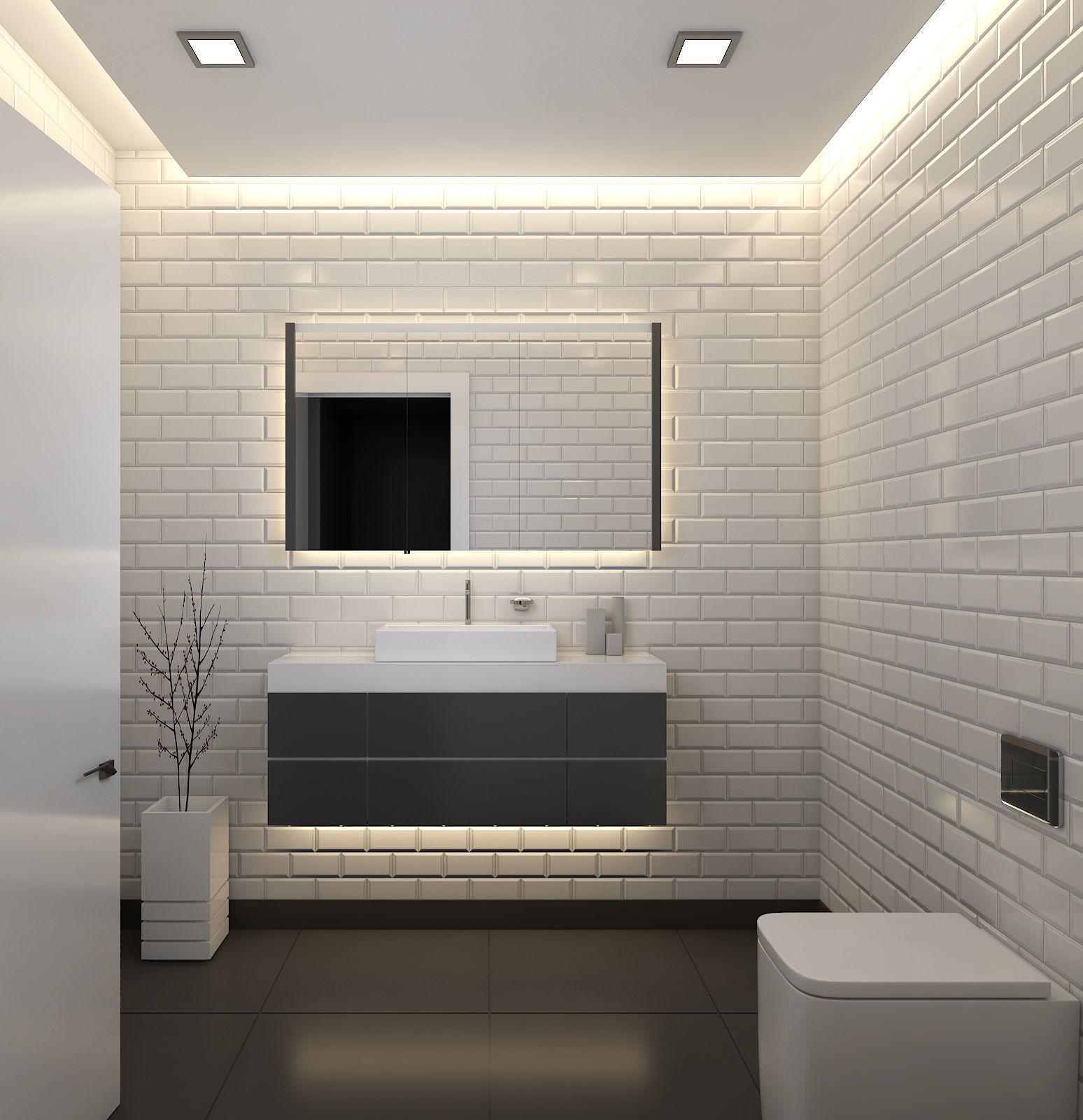 3D model Black-White Bathroom WC Design | CGTrader