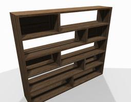3D model Wide wooden shelf