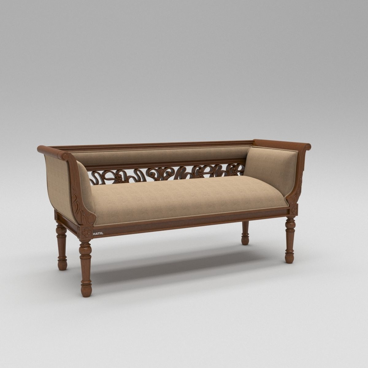 Brilliant Wooden Divan Sofa 3D Model Caraccident5 Cool Chair Designs And Ideas Caraccident5Info