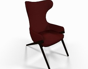 Red fabric reading chair 3D model