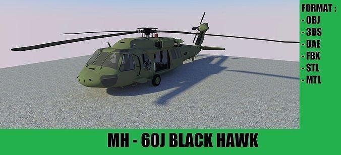 mh-60 black hawk 3d model obj mtl 3ds fbx dae skp 1
