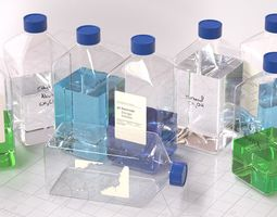 3D Laboratory Square Glass Bottle