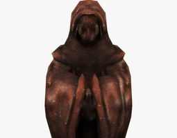 Low-poly Old Relic Medieval Monk Statue 3D asset