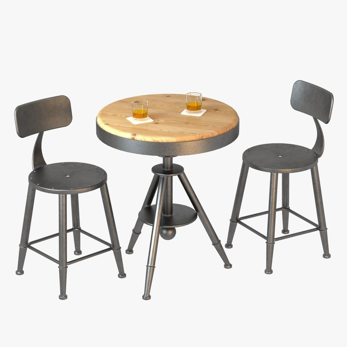 Loft Style Bar Chairs And Table 3d Model Max Obj 3ds Fbx Mtl 1 ...