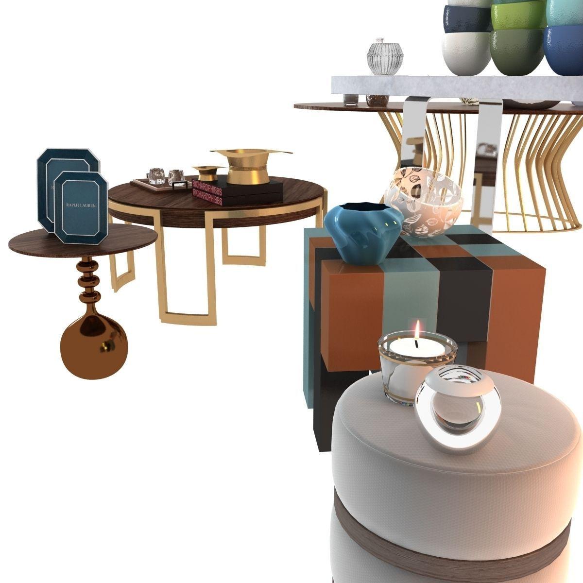 Living room decorative set 3d model max obj 3ds fbx mtl for Decorative items for dining room