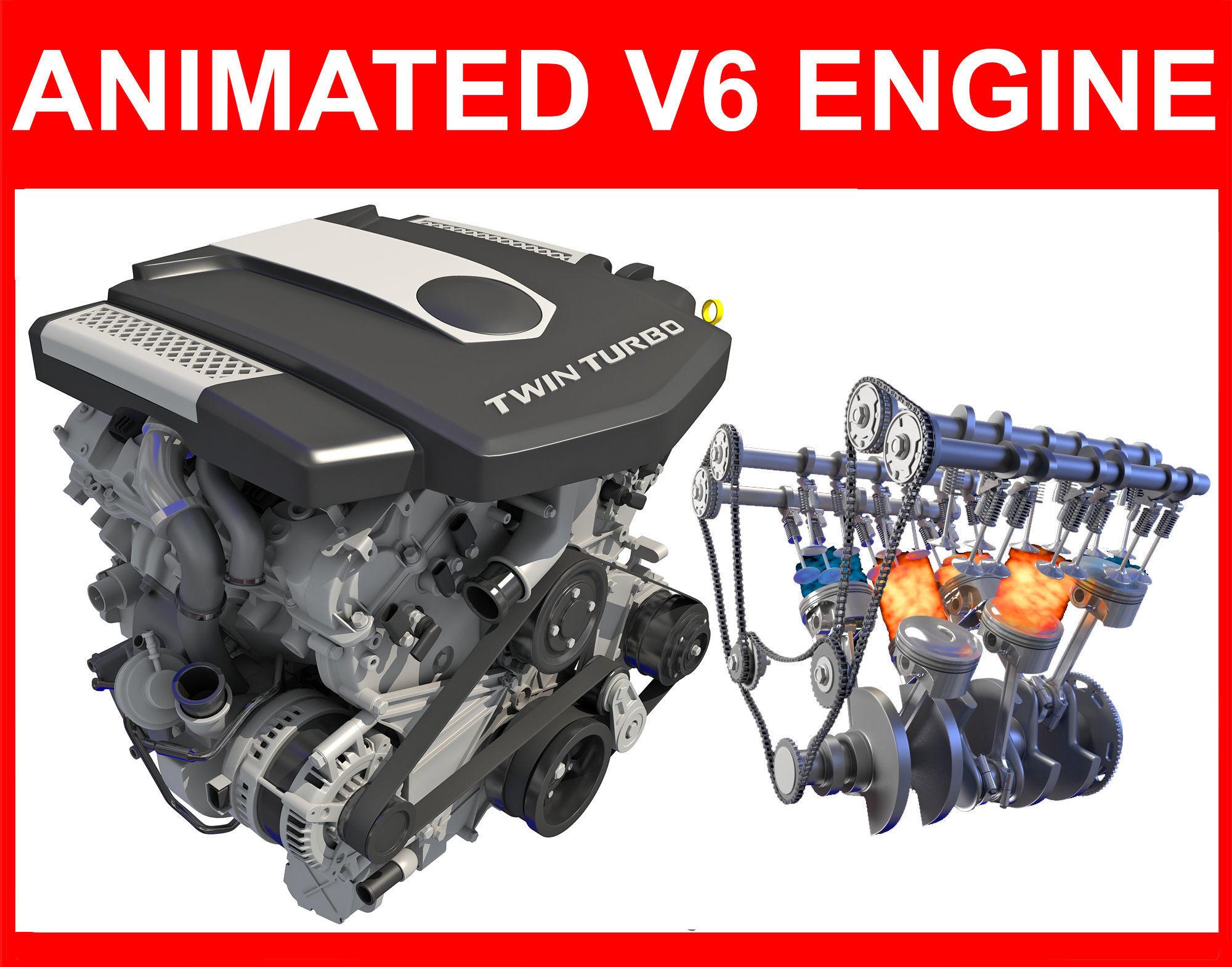 V6 Engine with Gasoline Ignition Animation