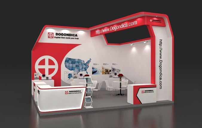 Exhibition Booth Obj : Exhibition booth 5x6m 2 sides open 3d model 002