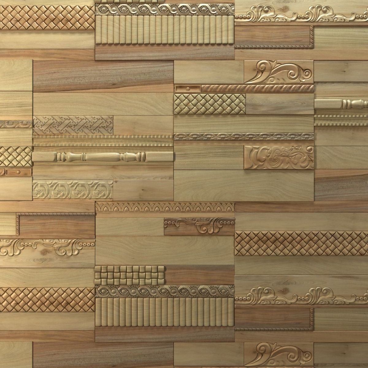 Wanderwall Phoenix 3d Wall Wood Tiles 3D Model .max .obj .fbx