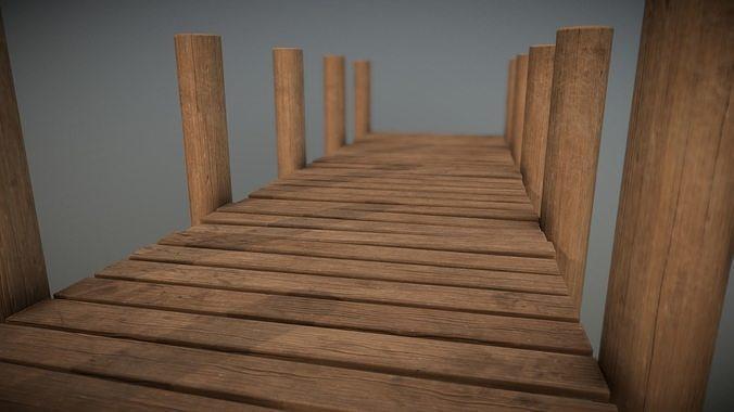 lakeside pier 3d model low-poly obj mtl fbx stl dae 1