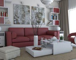 3D model Living Room red