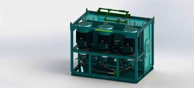 Hydraulic Power Unit 3x90kW3D model