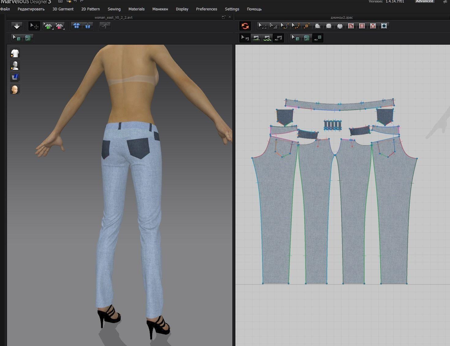 jeans marvelous designer v3 free 3d model zpac
