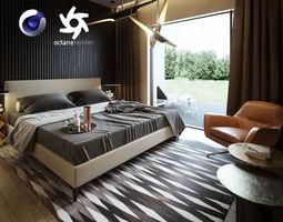 Bedroom Interior Scene for Cinema 4D and Octane Render 3D